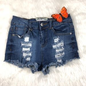 Hot Kiss Juniors Destroyed Jean Shorts Size 3